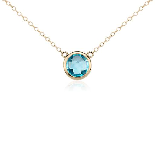 Blue Topaz Solitaire Necklace in 14k Yellow Gold