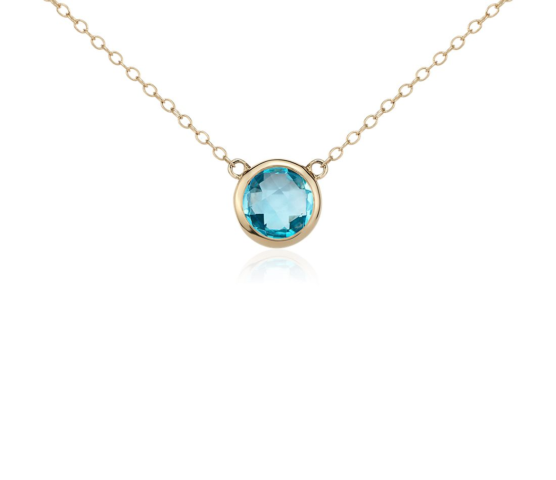 Blue Topaz Solitaire Necklace in 14k Yellow Gold (8mm)