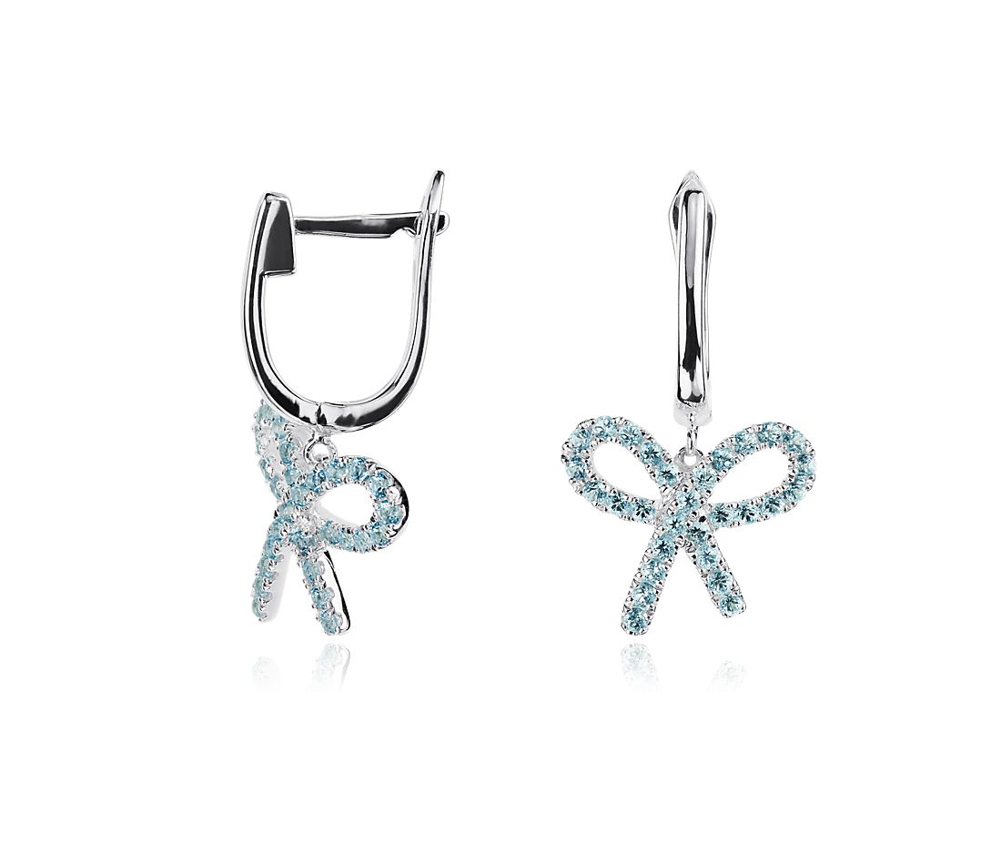 Blue Topaz Bow Earrings in Sterling Silver
