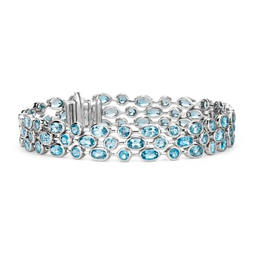 Three Row Blue Topaz Bracelet in Sterling Silver (5x3mm)
