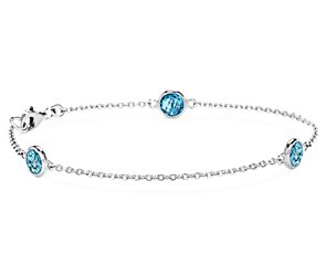 Blue Topaz Chain Bracelet in Sterling Silver