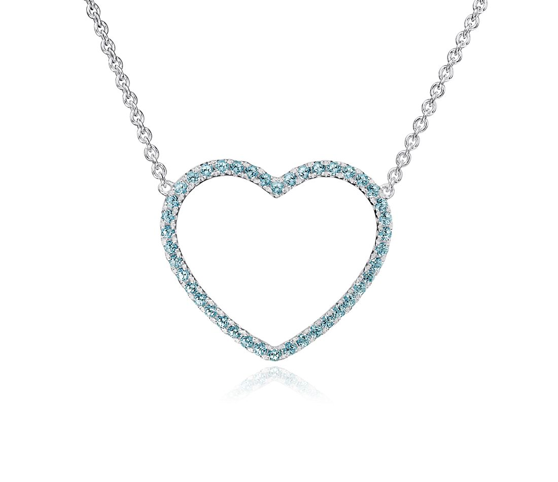 Blue Topaz Heart Pendant in Sterling Silver