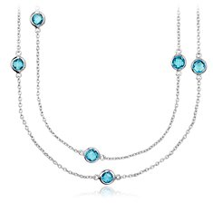 "Blue Topaz Chain Necklace in Sterling Silver - 36"" Long"