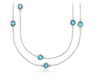 Blue Topaz Chain Necklace in Sterling Silver - 36
