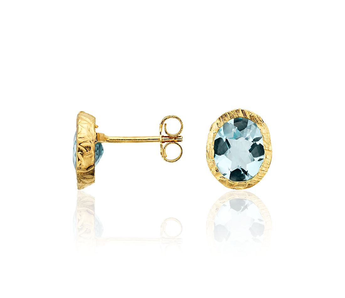 Blue Topaz Stud Earrings in Gold Vermeil
