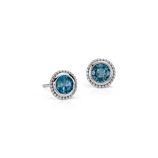 London Blue Topaz Milgrain Stud Earrings in Sterling Silver (5mm)