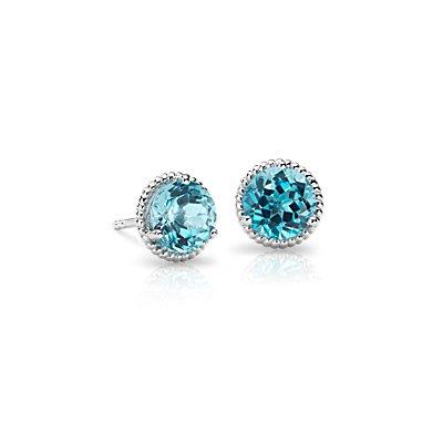 NEW Blue Topaz Rope Stud Earrings in Sterling Silver (7mm)