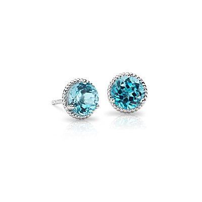 Blue Topaz Rope Stud Earrings in Sterling Silver (7mm)