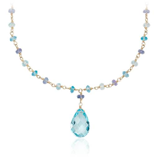 Blue Topaz and Tanzanite Necklace in 14k Yellow Gold (15x10mm)