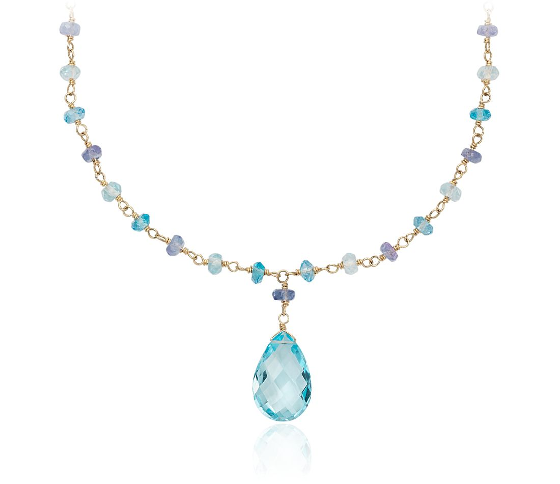 Blue Topaz and Tanzanite Necklace in 14k Yellow Gold
