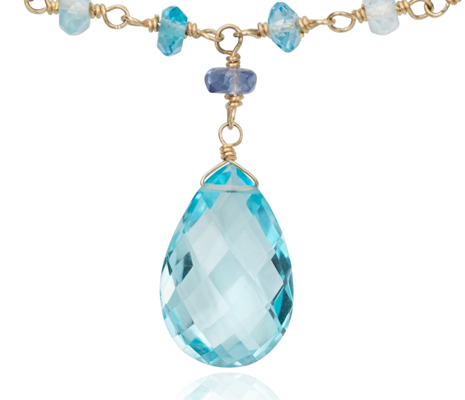Collier topaze bleue et tanzanite en or jaune 14 carats (15 x 10 mm)