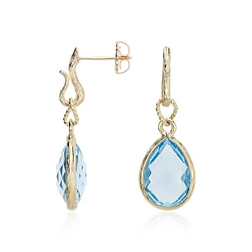 Blue Topaz Teardrop Earrings in 14k Yellow Gold