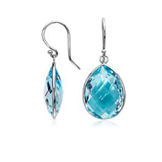 Blue Topaz Drop Earrings in 14k White Gold (20x15mm)