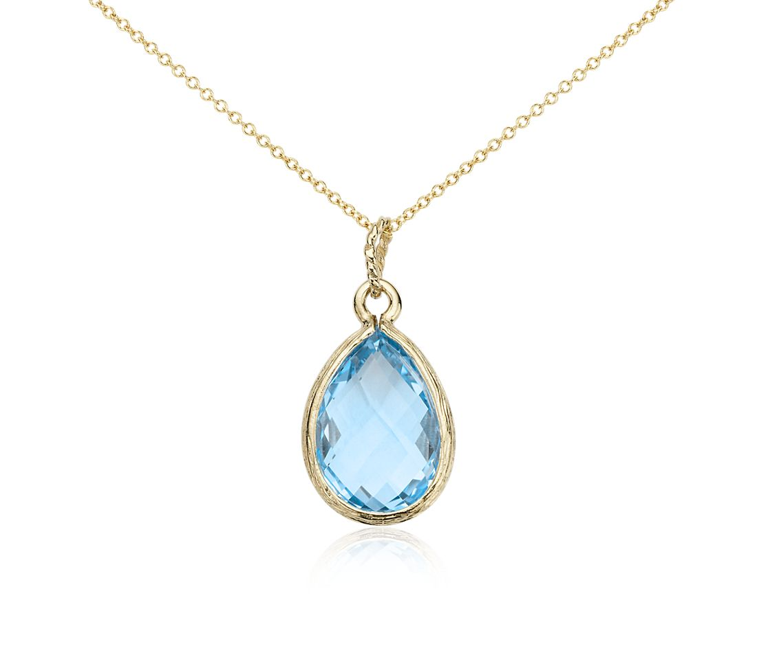 Blue Topaz Teardrop Pendant in 14k Yellow Gold