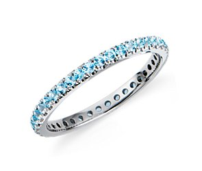 Blue Topaz Eternity Ring in 18k White Gold