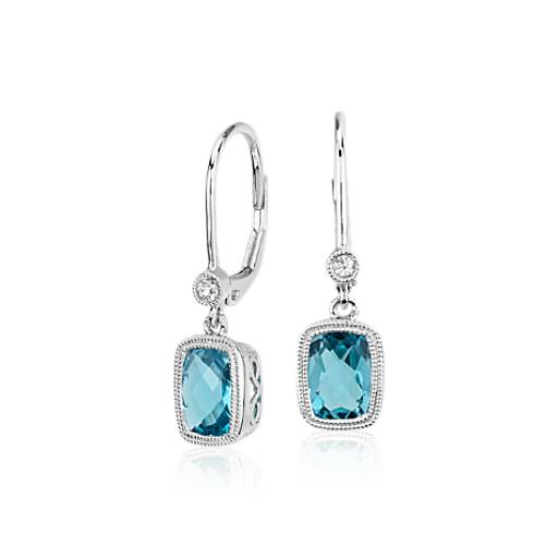 Blue Topaz and White Sapphire Milgrain Dangle Earrings in Sterling Silver (7x5mm)