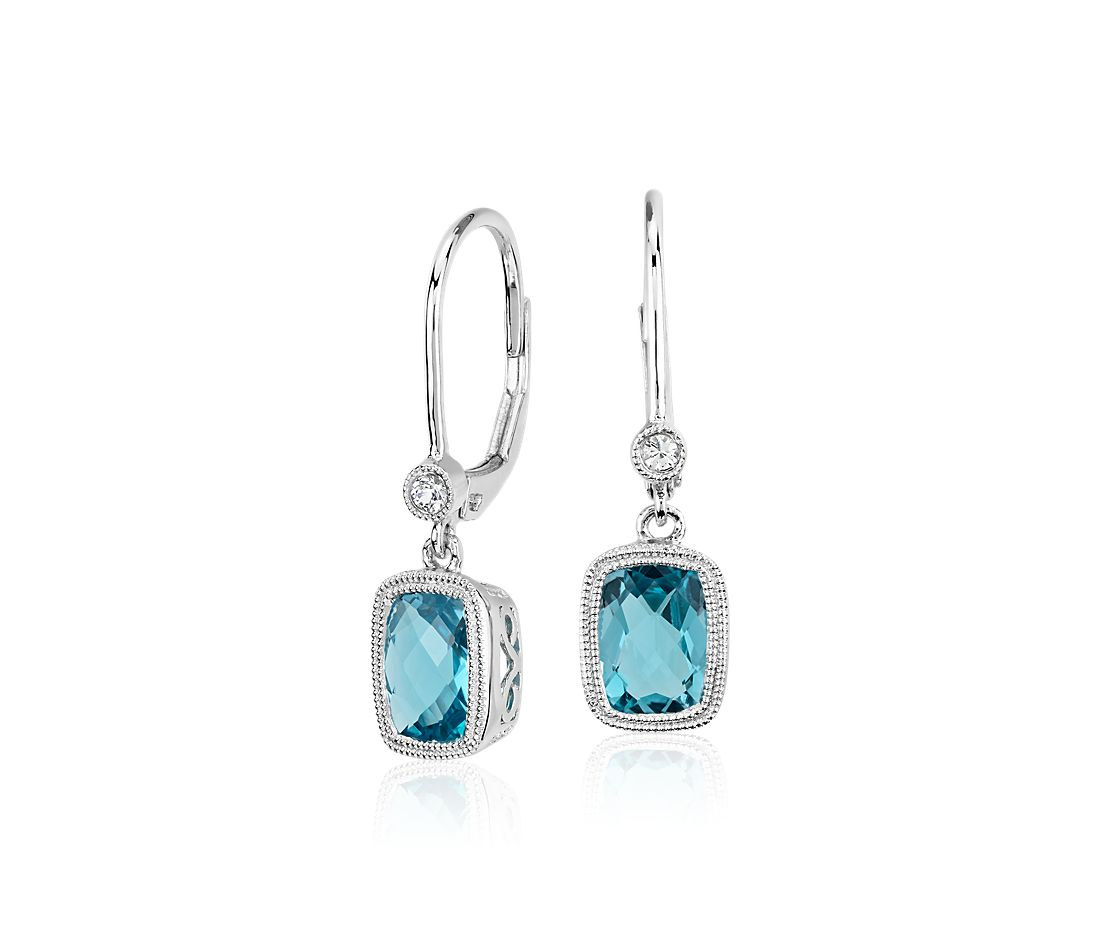 Blue Topaz and White Sapphire Milgrain Dangle Earrings in Sterling Silver
