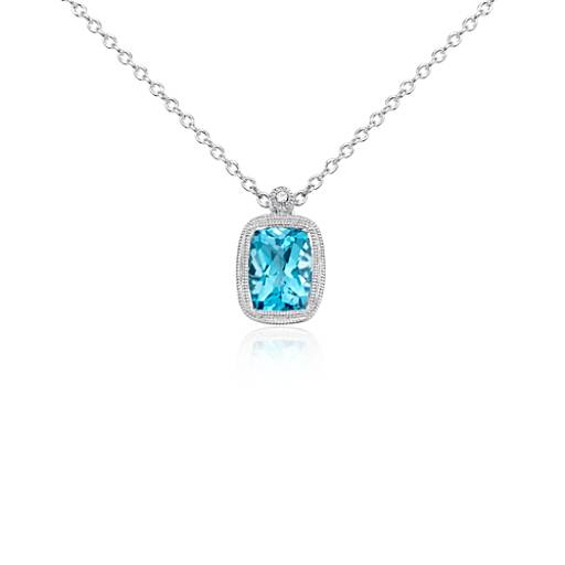 Blue Topaz and White Sapphire Milgrain Pendant in Sterling Silver
