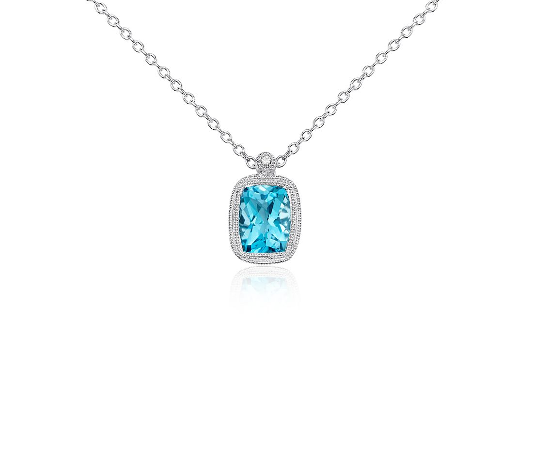 Blue Topaz and White Sapphire Milgrain Pendant in Sterling Silver (8x6mm)