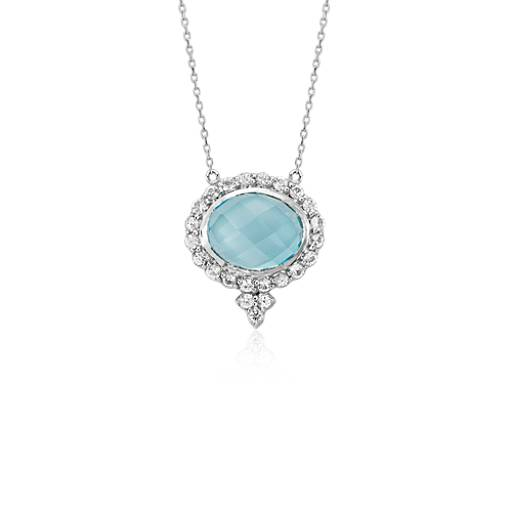 NEW Frances Gadbois Blue Topaz Necklace in 18k White Gold (10x8mm)