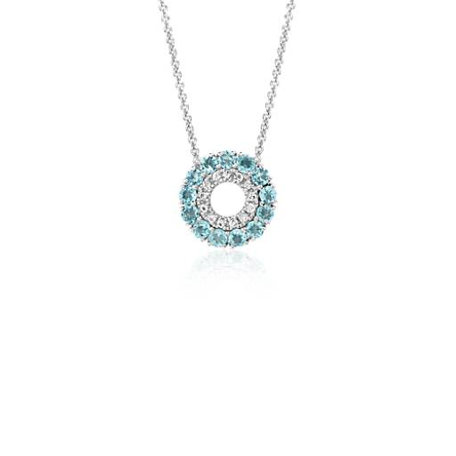 Blue Topaz and White Topaz Circle Pendant in 14k White Gold