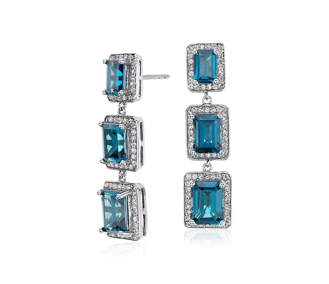 London Blue Topaz Emerald Halo Drop Earrings in Sterling Silver (8x6mm)