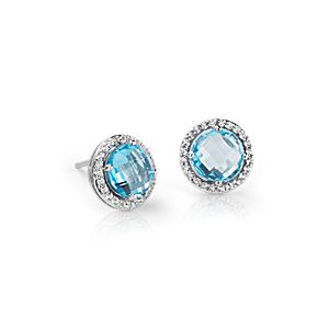 Blue Topaz and White Topaz Halo Earrings in Sterling Silver (7mm)