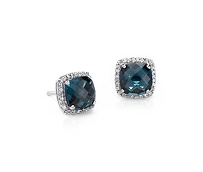 London Blue Topaz Halo Stud Earrings in Sterling Silver