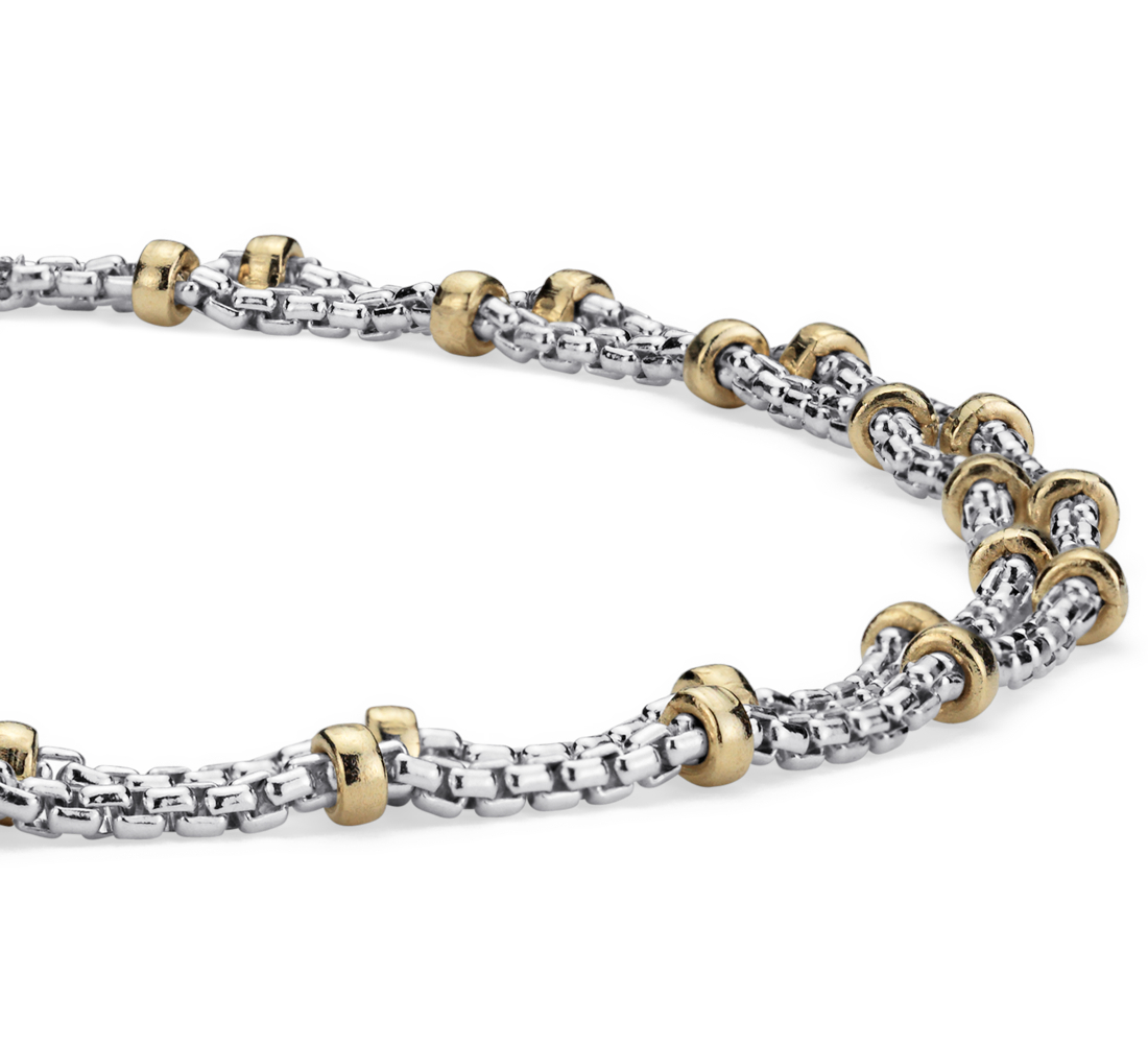 Box Chain Bracelet in Sterling Silver with 14k Yellow Gold Beads