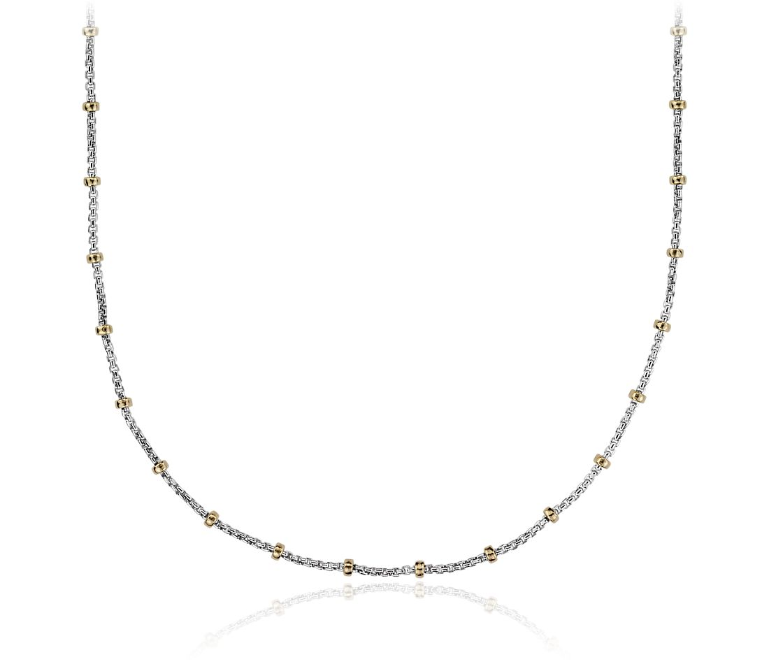 Box Chain Necklace in Sterling Silver and 14k Yellow Gold