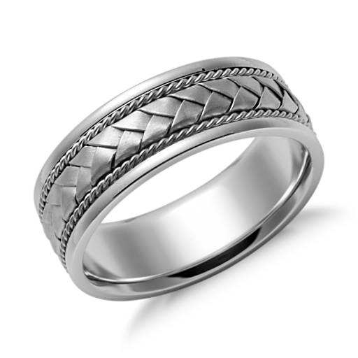 Braided Wedding Ring  in 14k White Gold (7mm)
