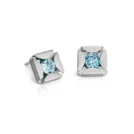Bree Richey Blue Topaz Stud Earrings in Sterling Silver