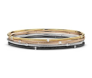 Brick Design Bangle in 14k White, Yellow, and Rose Gold (1 1/5 ct. tw.)