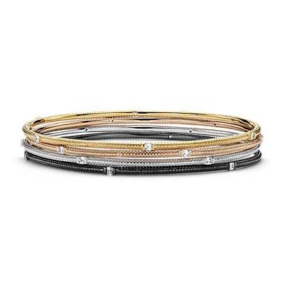 Esclava de diamantes con diseño de ladrillo en oro blanco, amarillo y rosado de 18k (1 1/5 qt. total)