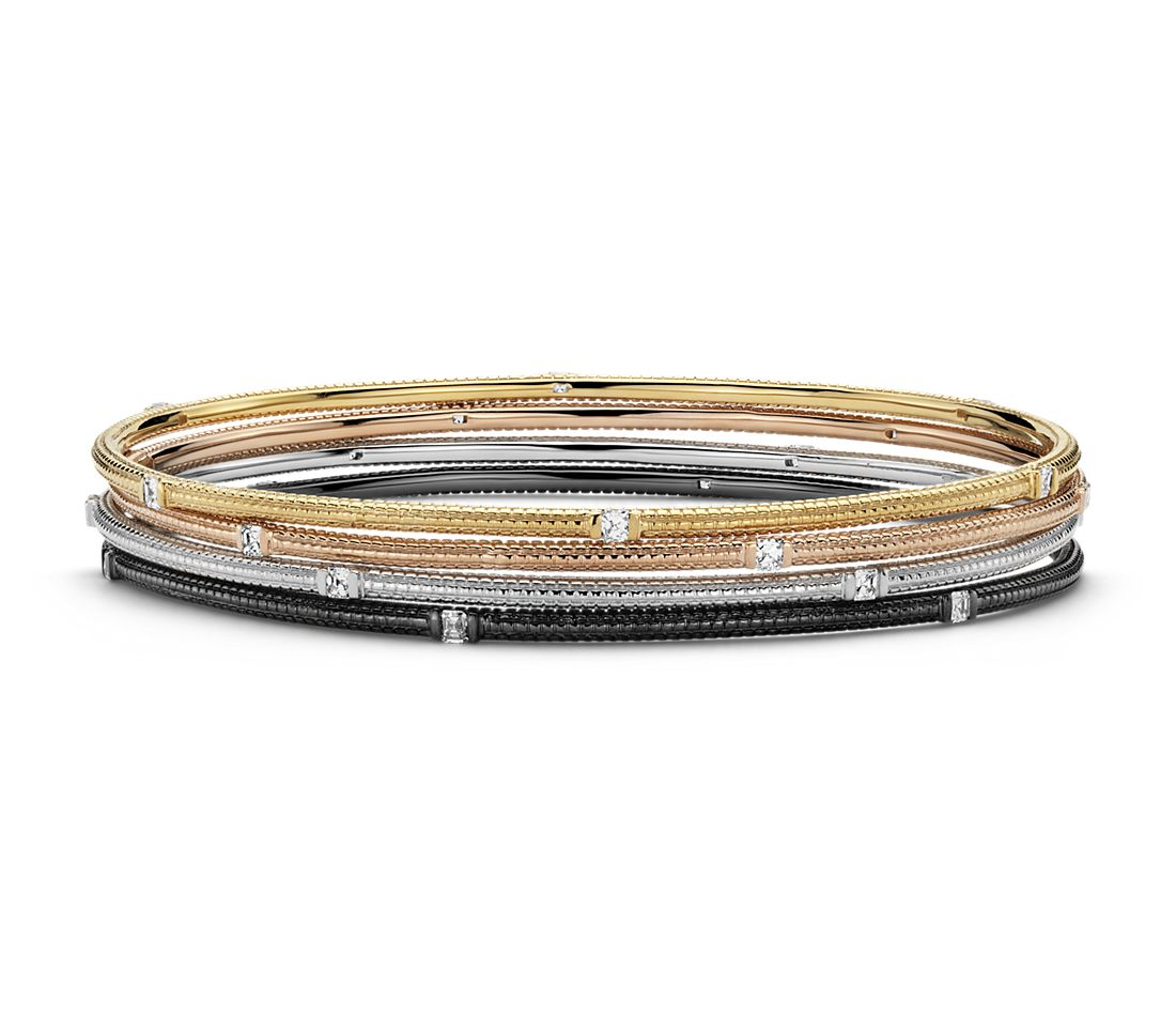 Brick Design Diamond Bangle Bracelets In 14k White Yellow