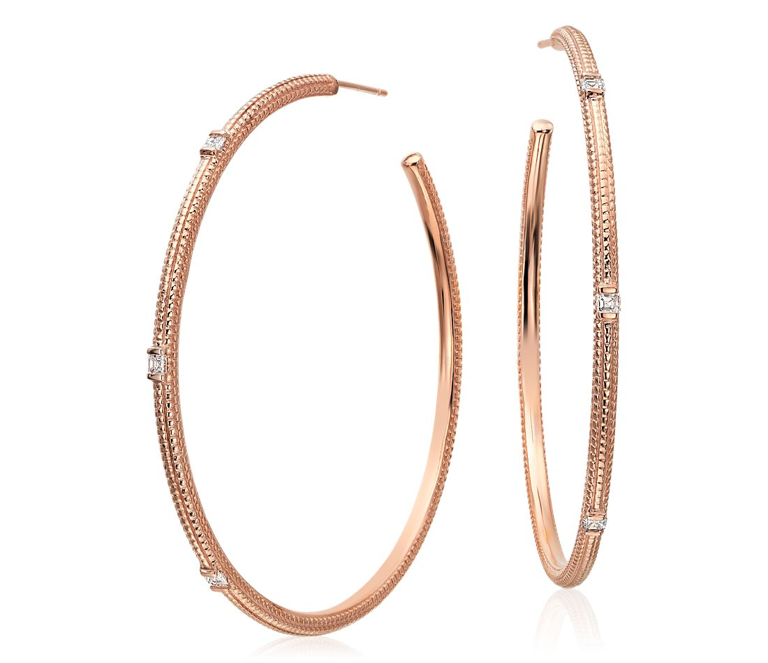Brick Pattern Diamond Hoop Earrings in 14k Rose Gold
