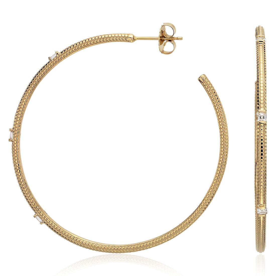 Brick Pattern Diamond Hoop Earrings in 14k Yellow Gold