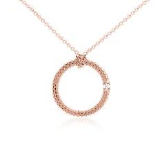 Pendentif diamant motif brique en or rose 14carats (1/10carat, poids total)