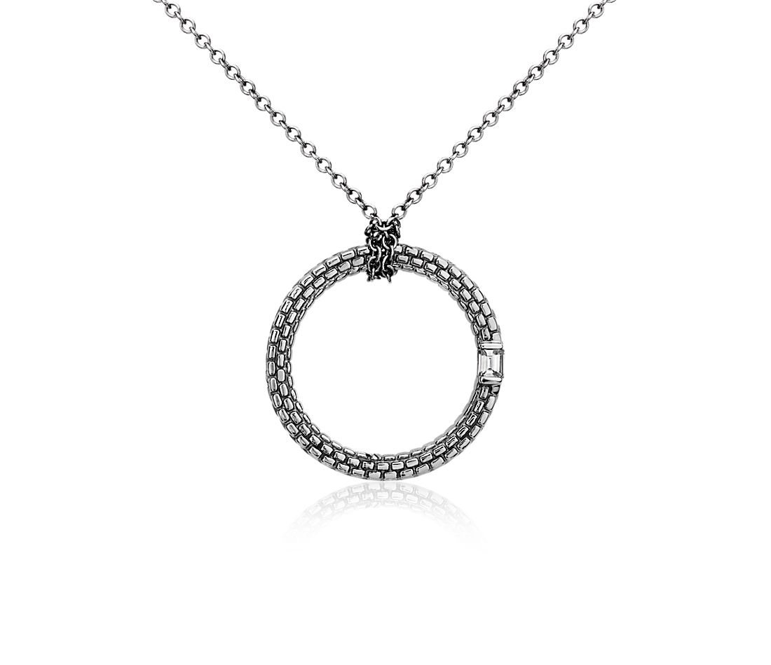 Brick Pattern Diamond Pendant in 14k White Gold with Black Rhodium Plating