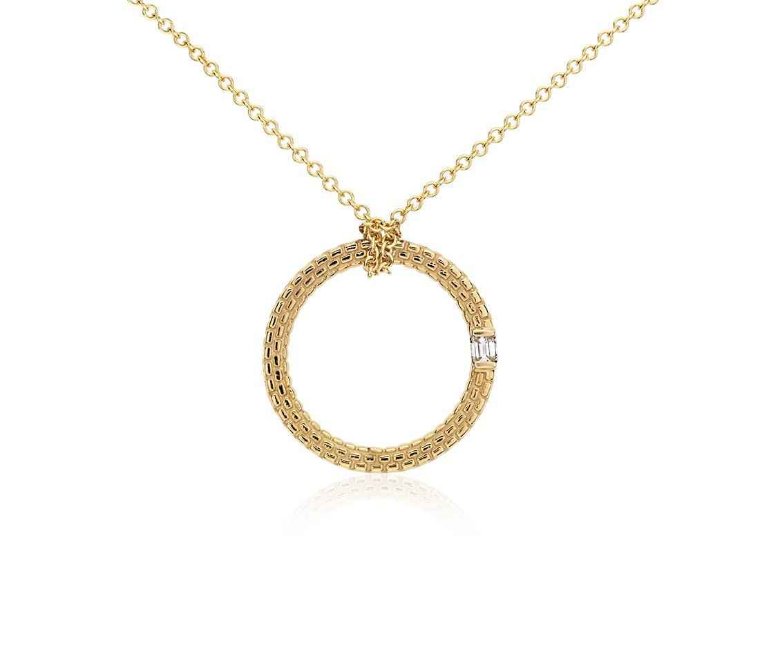 Brick Pattern Diamond Pendant in 14k Yellow Gold