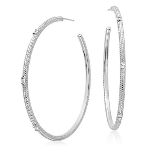 Brick Pattern Diamond Hoop Earrings in 14k White Gold (1/3 ct. tw.)