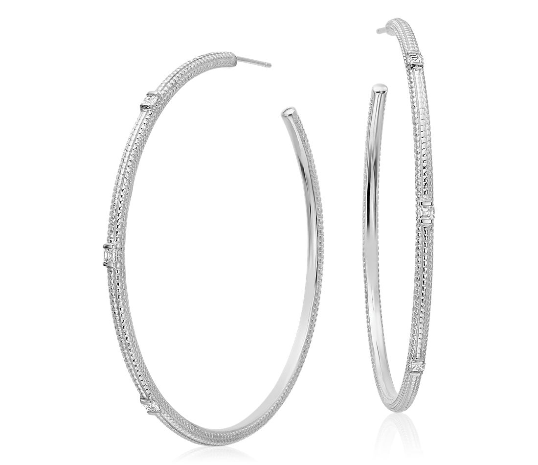 Brick Pattern Diamond Hoop Earrings in 14k White Gold