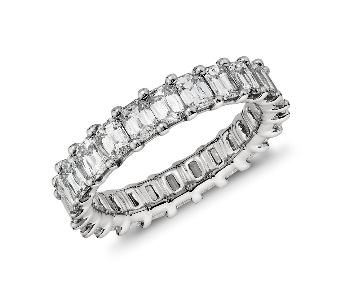 Brilliant Emerald Cut Diamond Eternity Ring in Platinum (4 ct. tw.)
