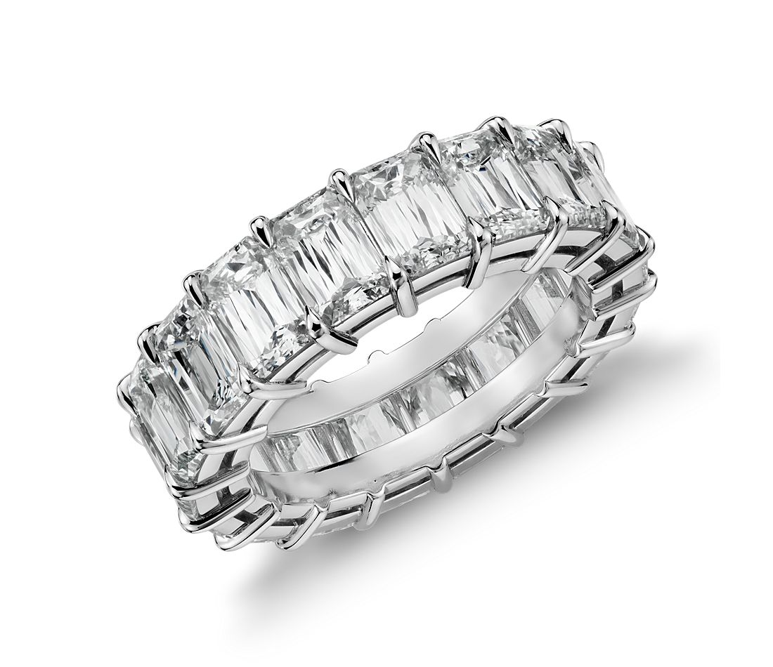 Brilliant Emerald Cut Diamond Eternity Ring in Platinum (8 ct. tw.)