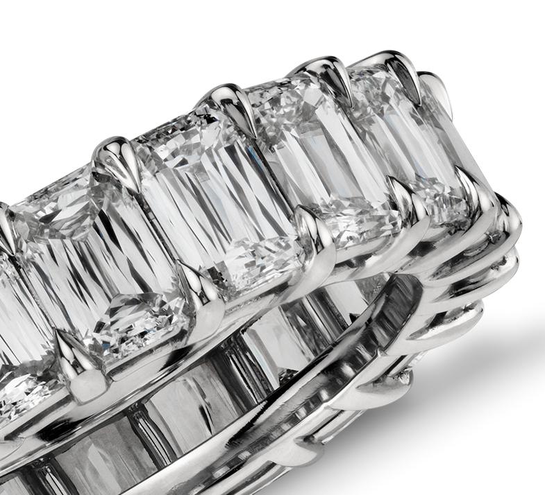 Brilliant Emerald Cut Diamond Eternity Ring in Platinum (7.00 ct. tw.)