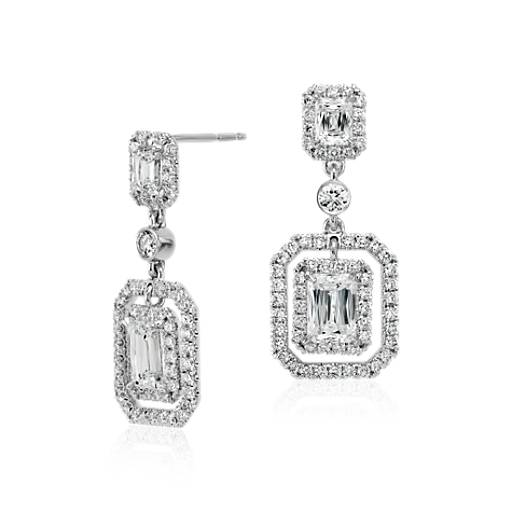 Brilliant Emerald-Cut Diamond Halo Double Drop Earrings in 18k White Gold