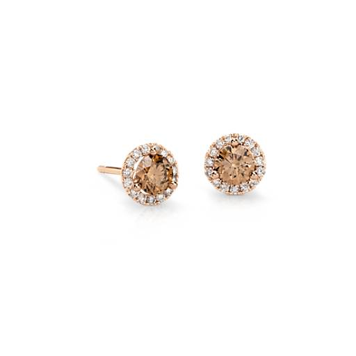 Brown Diamond Halo Earrings in 14k Rose Gold