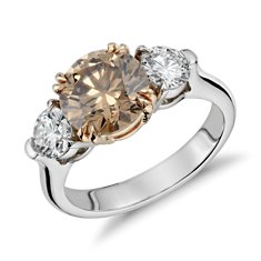 Fancy Brown Three-Stone Diamond Ring in Platinum and 18k Rose Gold (3.04 ct. tw.)