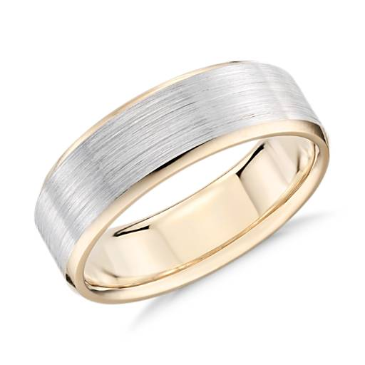 NEW Brushed Beveled Edge Wedding Ring in 14k White and Yellow Gold (7mm)