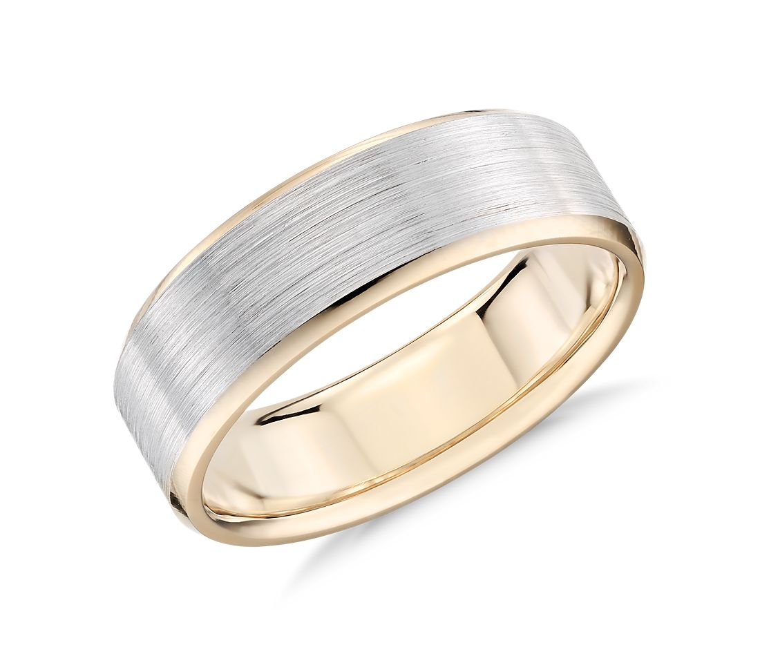 brushed beveled edge wedding ring in 14k white and yellow